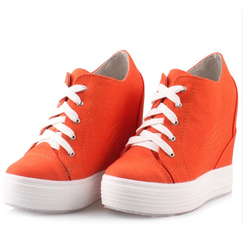 fashion women elevator candy color breathable canvas high platform denim lace up casual shoes height increasing wedges shoes
