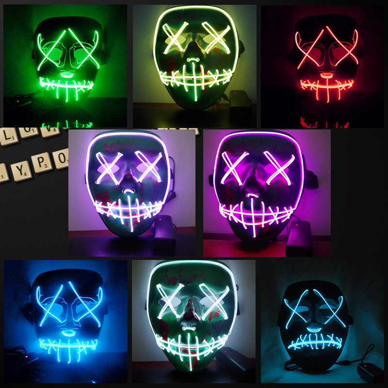 Halloween Led Luminous Mask 2018 Horror Grimace Bloody EL Wire DJ Glowing Full Face Mask For