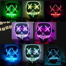 Хэллоуин светодио дный светодиодная светящаяся маска 2018 ужас гримаса кровавая EL Wire DJ светящаяся полная маска для лица для рождества карнавечерние вал Вечеринка клуб бар