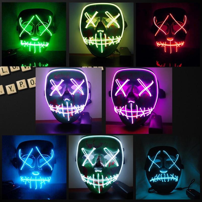 Máscara luminosa Led Halloween 2018 Horror Grimace Bloody EL Wire DJ máscara facial brillante para Navidad Fiesta Club Carnaval Bar