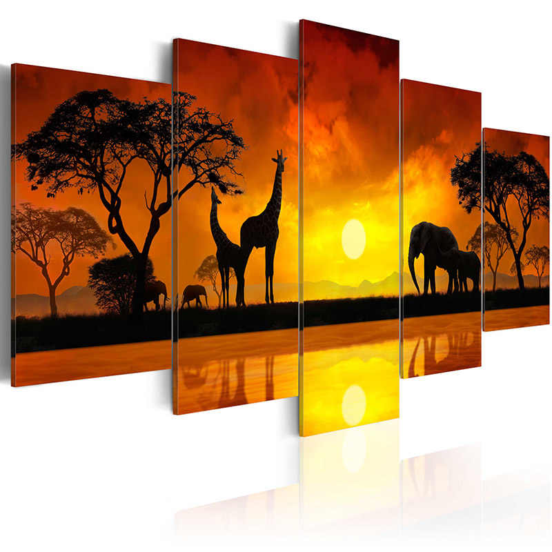 5 pieces/set Wild animal series Picture Print Painting On Canvas Wall Art Home Decor Living Room Canvas Art PJMT-B (216)