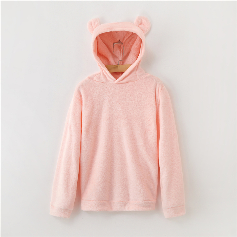 Women's Flannel Hoodies Sweatshirts Lovely With Bears Ears Solid Warm Hoodie Autumn Winter Casual Campus Pullovers Coat 6