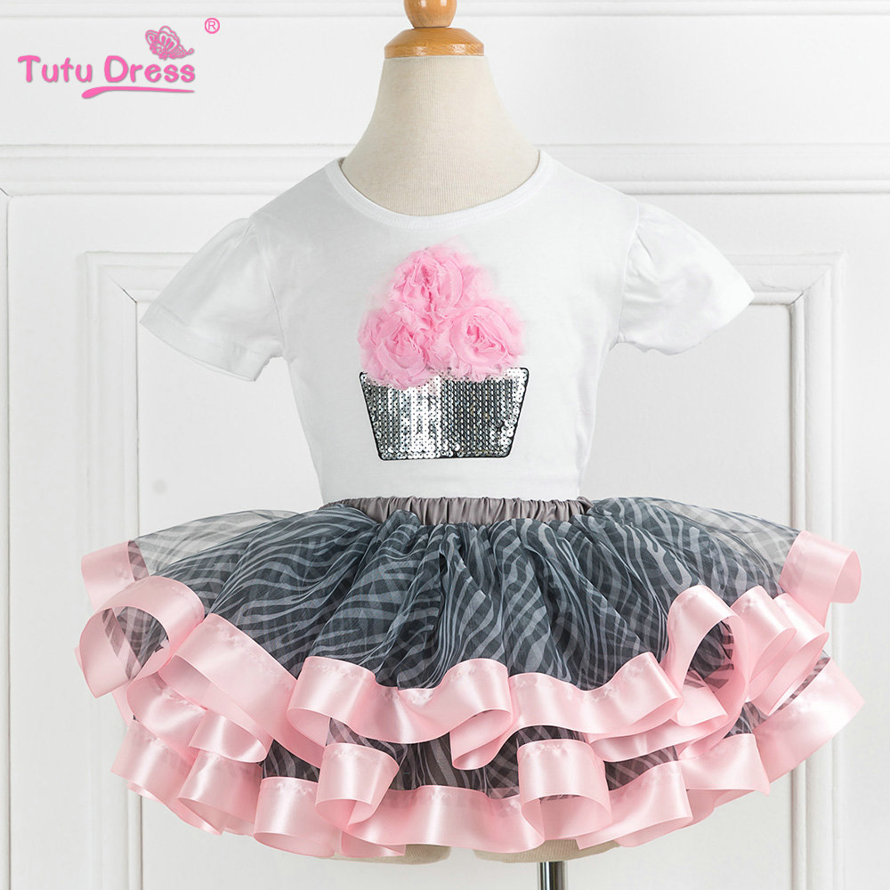 Super Fluffy Girls Birthday Tutu Set Summer Toddler Girls Clothing Sets Flower Tshirt +skirt 2 Pcs Kid Suits Children Clothing
