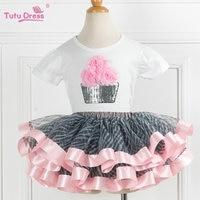 Super Fluffy Girls Birthday Tutu Set Summer Toddler Girls Clothing Sets Flower Tshirt Skirt 2 Pcs