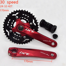 Aluminum Alloy 24-32-42T MTB Bicycle Crank BCD Crankset 30 speed Bike Chainwheel Crank set with BB for bicycle crank цена