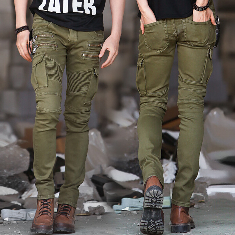 Green Black Denim Biker jeans pants 1