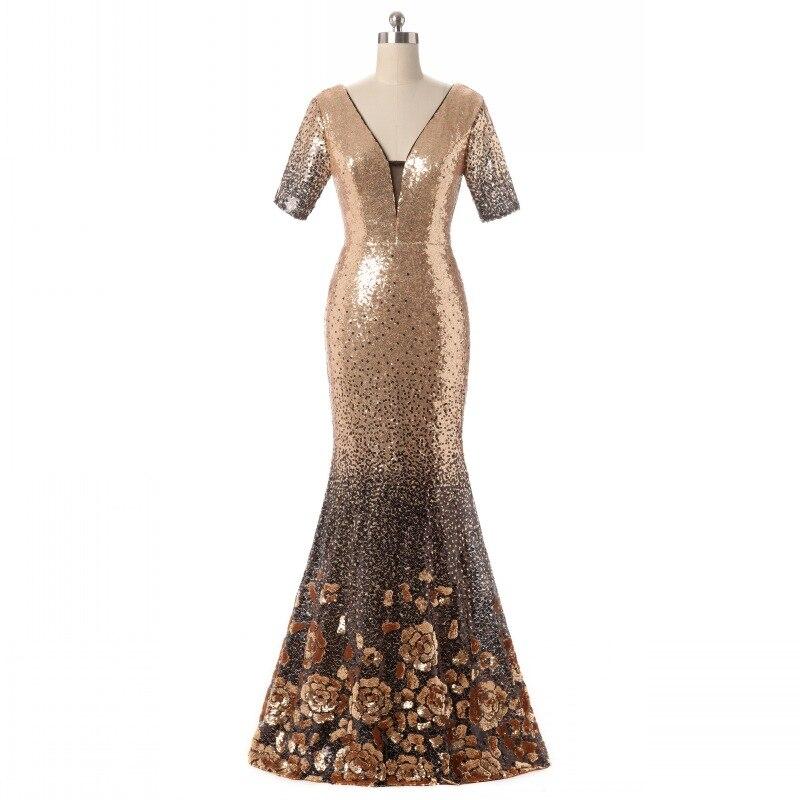 Robes de luxe en or à paillettes longues mère de la mariée Sexy col en V profond sirène robes de soirée Mutter der Brautkleider