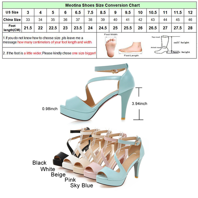Meotina Shoes Women Summer Shoes Gladiator Sandals Women High Heels Sandals Open Toe Platform Ladies Shoes Beige White Size 9 43