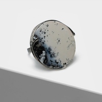 Vintage Exaggerated circle ink dot design inlaid semi precious stone two tone Rings