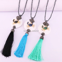3Pcs Fashion Nature Shell Round Pendants CZ Crab Charms With Silk Tassel Handmade Hematite Necklaces Women