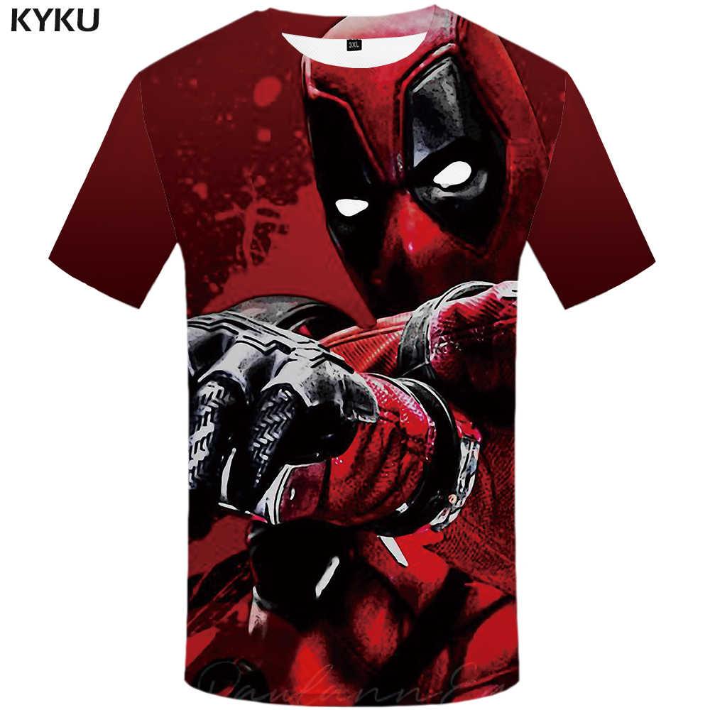 Забавная футболка s Badass Deadpool, Мужская футболка, кровные футболки, 3d Красная футболка, принт войны, аниме, одежда, Готическая Футболка с принтом