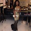 Ouro brilhante e preto cristal frisado sereia vestidos de baile 2017 africano sexy spaghetti side dividir longo evening party dress