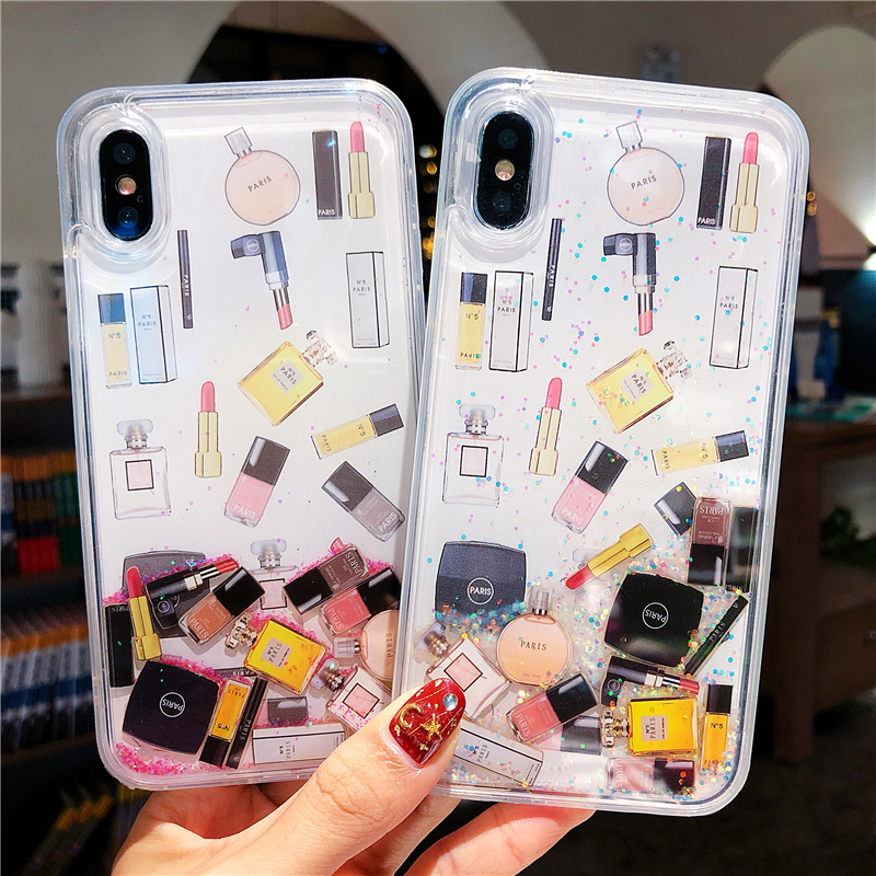 Makeup cosmetic quicksand <font><b>case</b></font> for <font><b>iphone</b></font> XS Max X <font><b>XR</b></font> Bling <font><b>glitter</b></font> Dynamic liquid hard <font><b>phone</b></font> <font><b>case</b></font> for <font><b>iphone</b></font> 6 6s 7 8 plus image