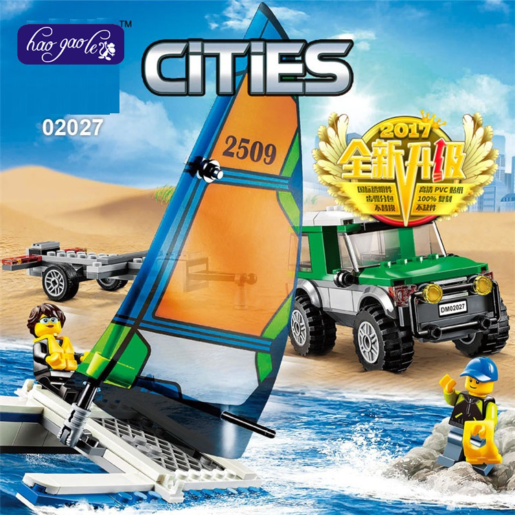 2017 New LENPIN 02027 212pcs cities series four-wheel drive and double body sailboat building blocks bricks baby toys gift 60149