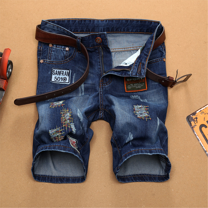 2019 Summer Top Men Jeans Shorts,Blue Color Fashion Designer Short Ripped Jeans For Men Denim Shorts Knee Length