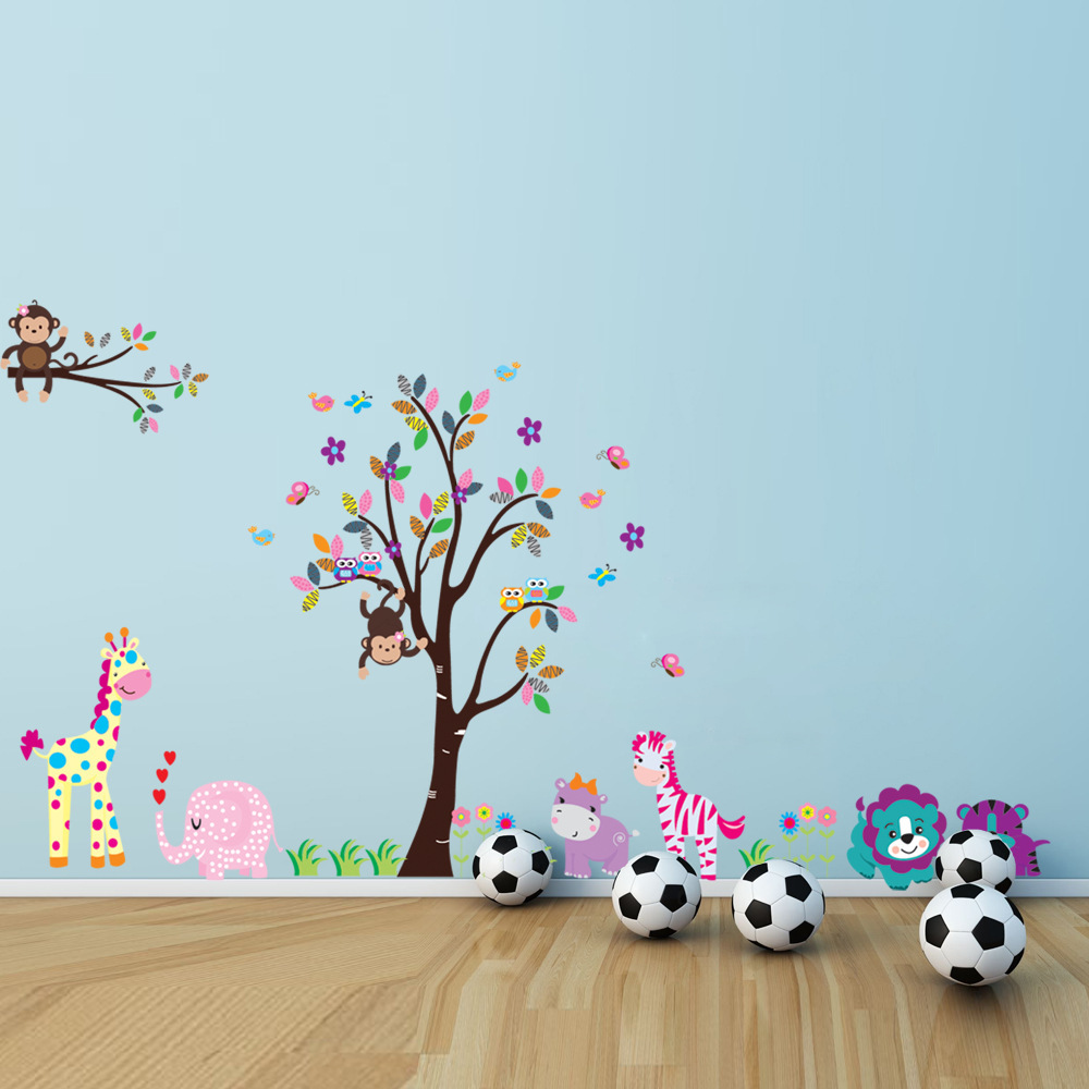 5099 Cute Animal Cartoon Forest Nursery Wall Stickers Children's Room Decorative Tree Wall Stickers Wall Decor