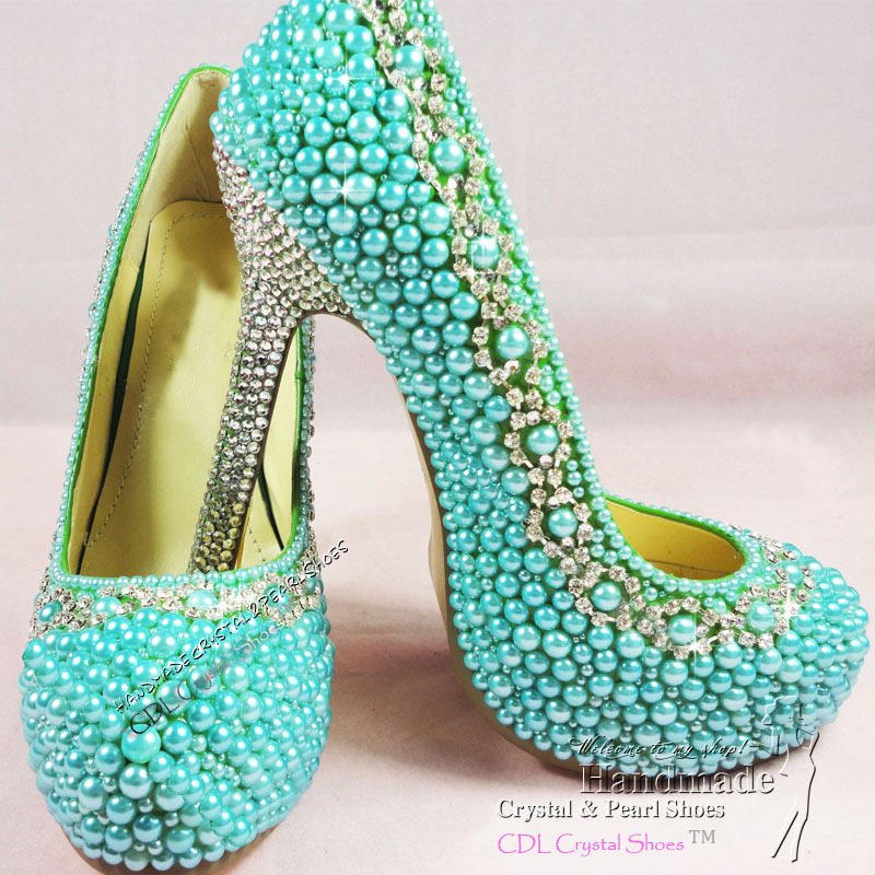 Ladies High Heel Handmade Fashion Teal Blue Wedding Shoes In Womens Pumps From On Aliexpress