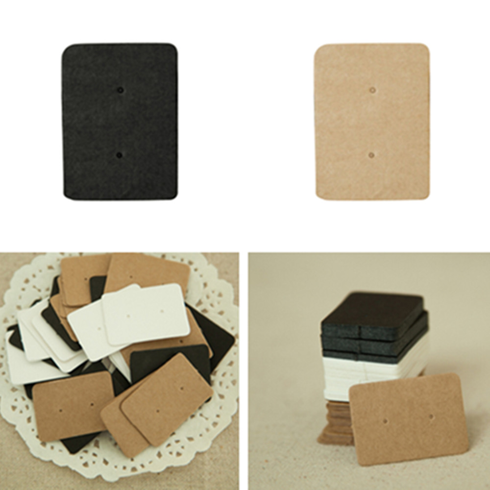 50Pcs 2.5*3.5cm Kraft Paper Ear Stud Hang Tag Jewelry Display Card Earring Kraft Paper Tag Ear Ring Paper Hang Price Tag