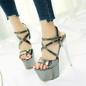 Image 4 - LANYUXUANขนาดใหญ่31 48รองเท้าแตะแพลตฟอร์มสุภาพสตรีแฟชั่นพรรครองเท้าเซ็กซี่เปิดนิ้วเท้าซุปเปอร์ส้นสูง(16เซนติเมตร)รองเท้าผู้หญิงปั๊ม202