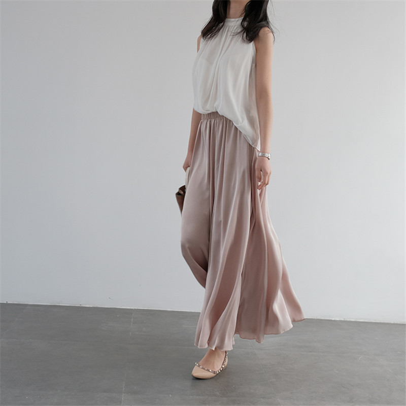 WBCTW Long Satin Pantalon Femme 2018 Summer High Elastic Waist Solid 8XL 9XL 10XL Big Size Trousers Maxi   Wide     Leg     Pants