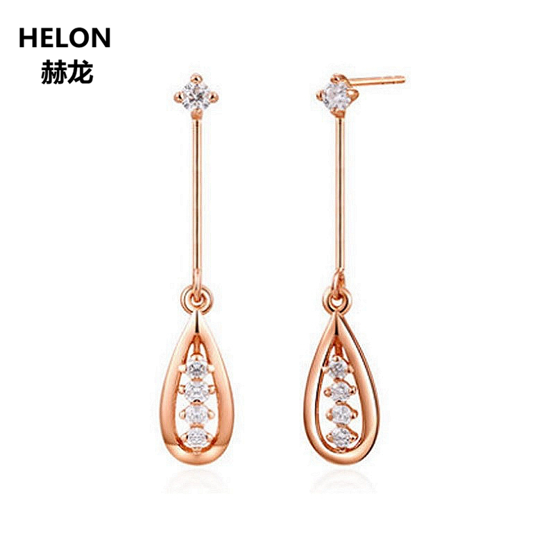 14K Solid Rose Gold SI/H Natural Diamonds Drop Earrings for Women Engagement Wedding Earrings Anniversary Party Fine Jewelry solid 18k rose gold natural diamonds stud earrings for women party engagement wedding anniversary fine jewelry earrings trendy