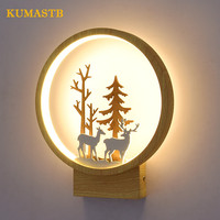 Nordic Wall Lamp Round Small Elk Bedroom Bedside Lamp Children Room Applique Murale Luminaire Wall Lights LED