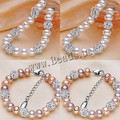 Taladro bola Shambhala bangles nueva moda diseño natural de agua dulce redondo de la perla pulseras crystal beads accessaries para mujeres