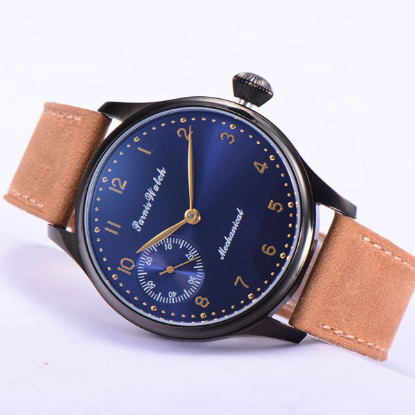 2018 Valentines Romantic gifts 44mm parnis Blue Dial Rose Golden Hands PVD Coated 6497 Hands Wind Mechanical men's Watch