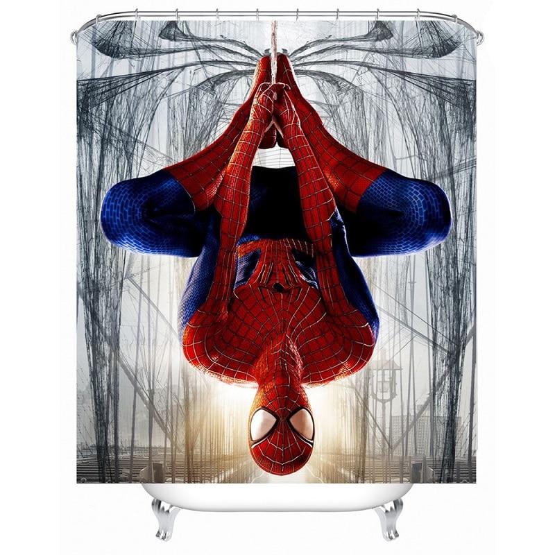 Shower Curtain Spiderman Printed Waterproof Polyester Bath
