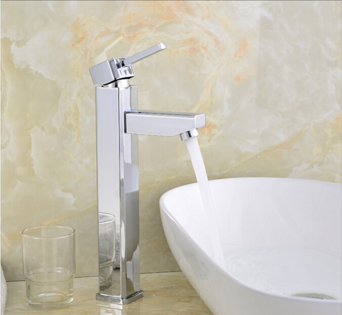 fashion high quality square cold and hot bathroom sink faucet basin faucet  tap mixer with 50 cm plumbing hose