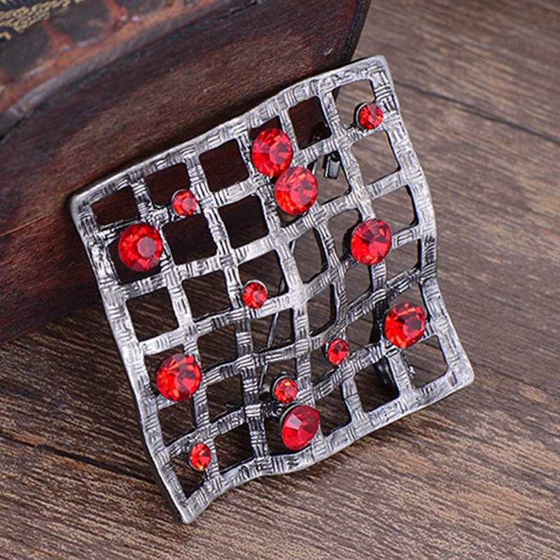 New Fashion Unique Design Colorful Crystal Retro Brooches for Women and Men Safety Pins Geometric Brooch Fashionable Jewelry