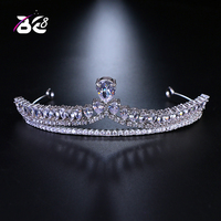 Be 8 Shiny Luxury Full Rhinestone Decorated Bridal Tiaras Hair Accessories Wedding Crown Bride Jewelry White Gold Color H118