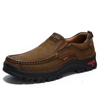 Large Size Slip-On Genuine Leather Men's Shoes High Quality Outdoors Hiking Shoes for Men