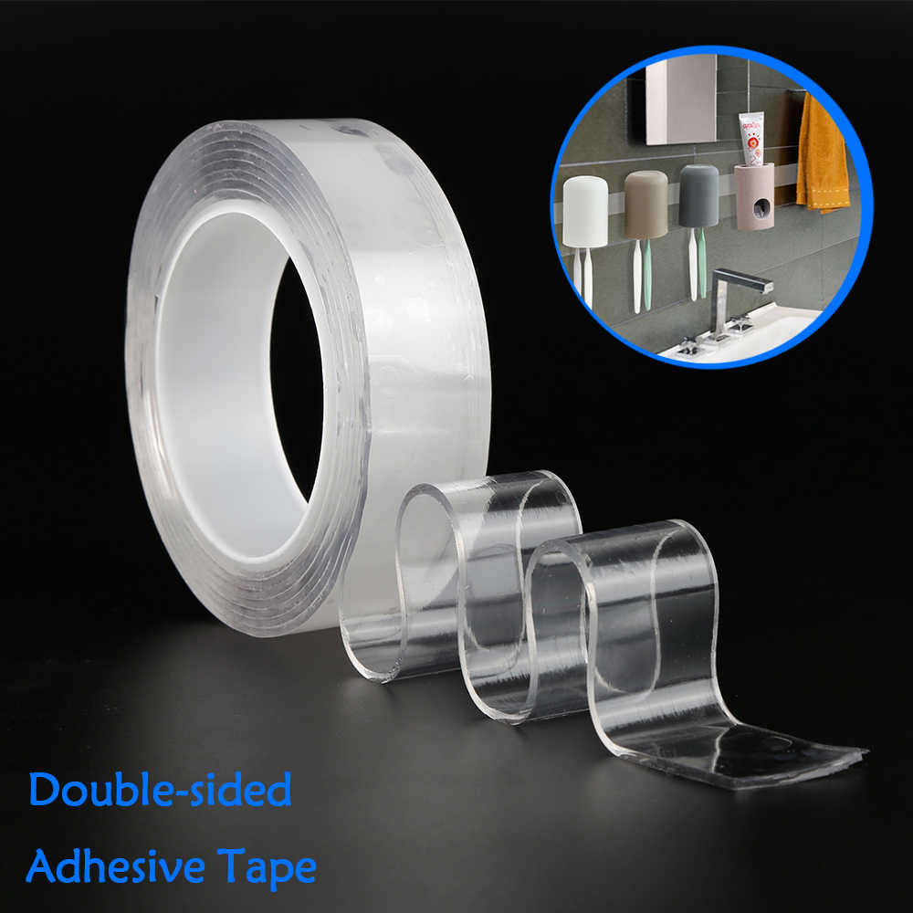 1/2/3/5m Reusable Nano-free magic tape Double side , Multifunctional Double Sided Traceless Washable Adhesive Tape Glue Gadget