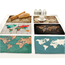 Map Of The World Cloth Table Mat Pad Design Coasters Placemat Dining Home Decoration Accessories Cotton Linen Fabric Tablecloth