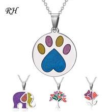 Кошачья и собачья лапка ожерелье для девочек Дети цветок дерево Эмаль ожерелье слон ювелирные изделия Женщины Подвеска с фигуркой животного Вечерние