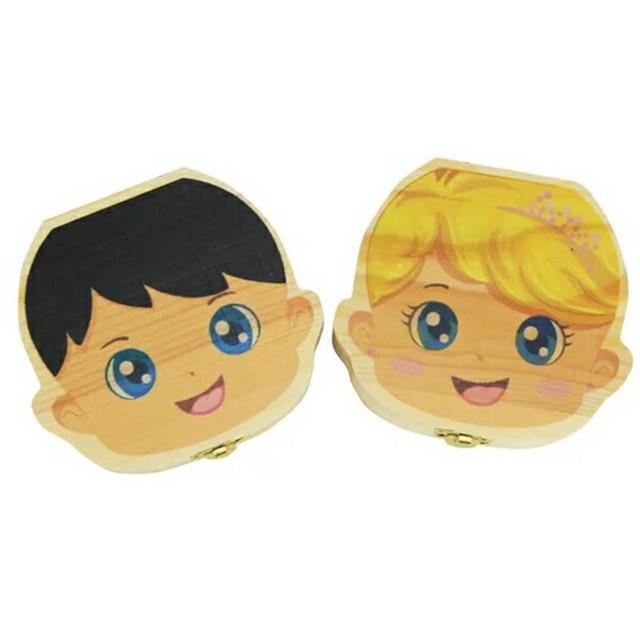 Baby Wood Tooth Box Organizer Spanish English Russian Teeth Storage Collect for Boys Girls Umbilical Save Keepsake Souvenir   Happy Baby Mama