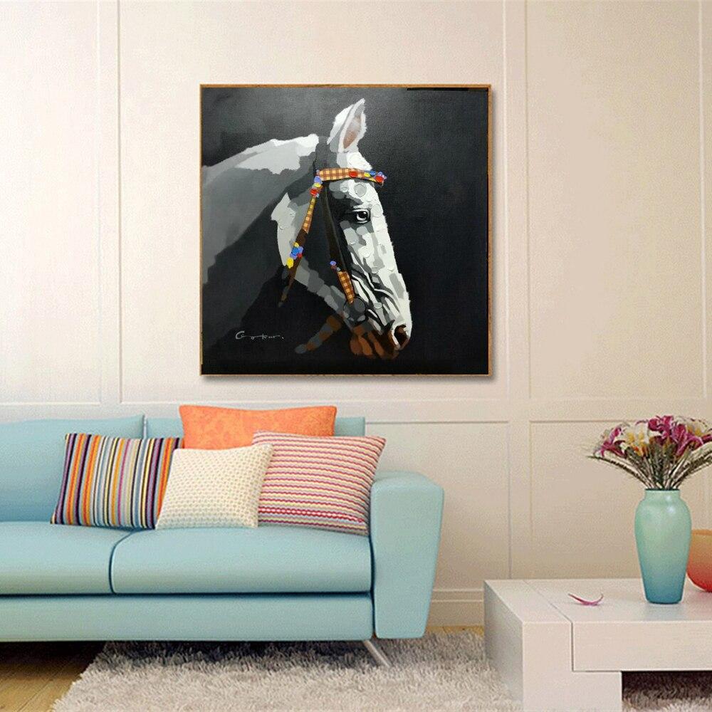 Peintures à l'huile nordiques peintes à la main Cool Horse fond noir peinture à l'huile sur toile pour bureau hall Gym décor mural Animal - 3