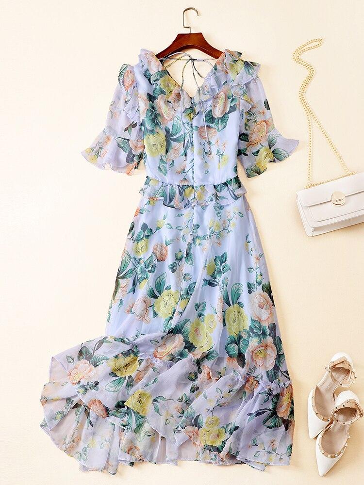 Chic femmes col en V en mousseline de soie robe d'été tout nouveau design floral imprimé volants robe A525