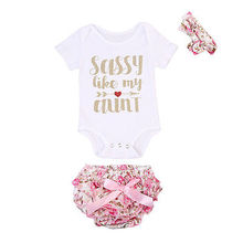 3PCS Floral Baby Girl Short Sleeve Bodysuit