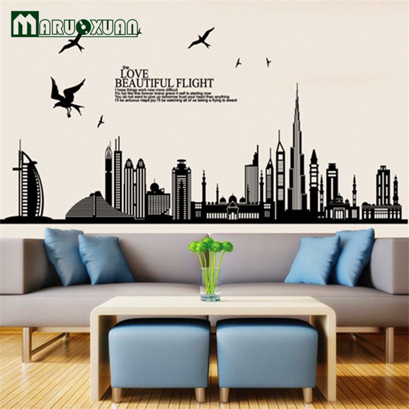 Buy Wall Stickers Home Decor Removable Vinyl Wall Sticker New Arrival Dubai City Landscape Wall Decals Home Decor Stickers for $4.28 in AliExpress store