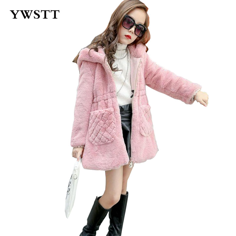 Girl's Winter Imitation Fur Coat 2017 Girls Thick Fluff Warm Coat Children Baby Clothes Kid Thick Plus Velvet Coat 2017 winter new clothes to overcome the coat of women in the long reed rabbit hair fur fur coat fox raccoon fur collar