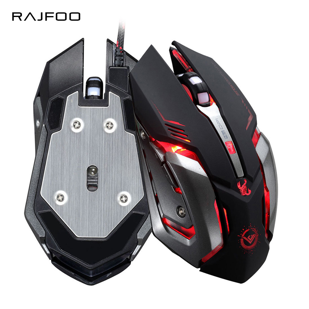 лучшая цена RAJFOO Gaming Mouse Ajustable 3200DPI 6 Buttons Optical Macro Programming USB Game Mouse Gamer 4 Color Breathing Variable Lights