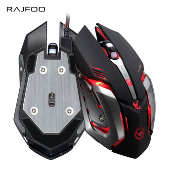 RAJFOO Gaming Mouse Ajustable 3200DPI 6 Buttons Optical Macro Programming USB Game Mouse Gamer 4 Color Breathing Variable Lights เมาส์
