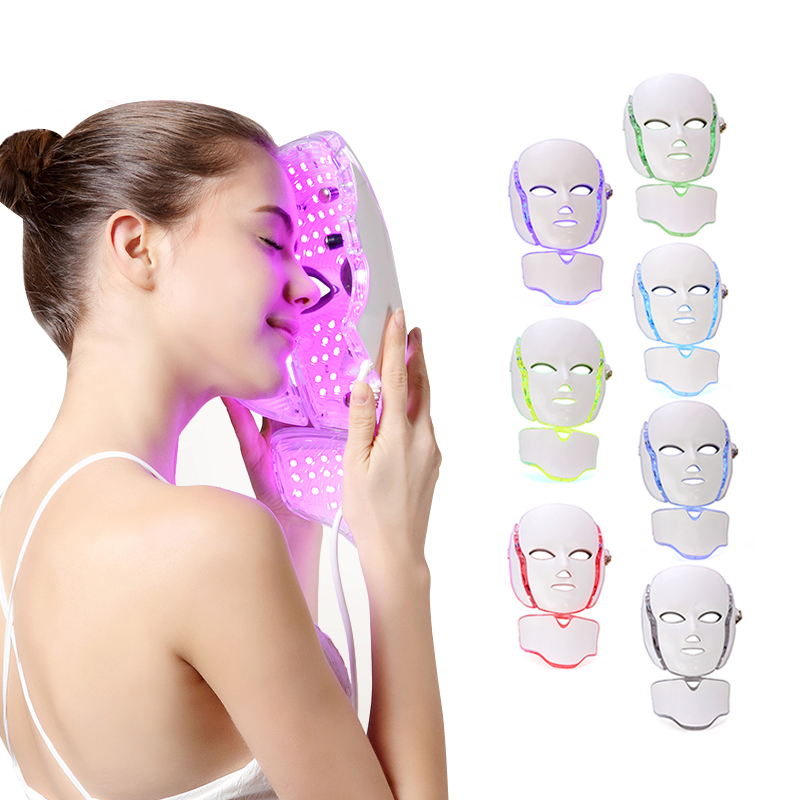 7 Colors LED Beauty Light Photon Therapy Facial Neck Mask Pore Acne Removal Machine Face Care Whitening Skin Tighten Anti-aging