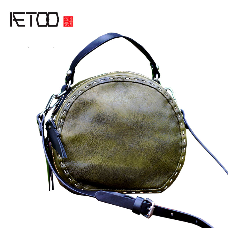 AETOO Tree cream leather handmade leather handbags hit color first layer leather casual Messenger bag bags retro aetoo leather shopping bags handbags large bag first layer of leather ladies shoulder bag fashion casual tote bag hit color hand