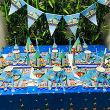 Cartoon Pirates Kids Theme Birthday Party Decoration Straws Plates Cup Tablecloth Flag Knife Fork Spoon hat baby Favors