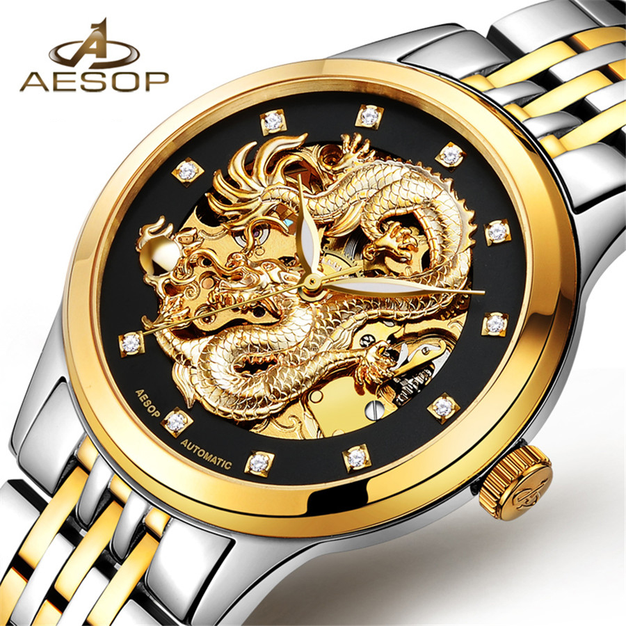 Reloj Hombre Dragon Skeleton Automatic Mechanical Watches For Men Wrist Watch Steel Strap Gold Clock 30m Waterproof Male Hodinky switzerland automatic mechanical watch men stainless steel reloj hombre wrist watches male waterproof skeleton sapphire b 1160 3