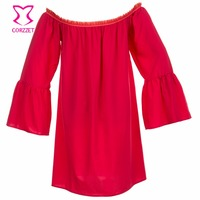 Corzzet 2017 Women Sexy Off Shoulder Red Chiffon Blouse Vintage Casual Slash Neck Flare Sleeve Tops Victorian Gothic Shirts