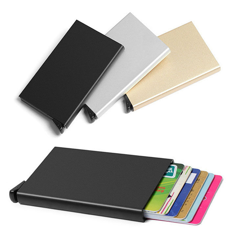 Metal Business ID Credit Card Holder Thin Wallets Pocket Case Bank Credit Card Package Case Card Box New Top Brand porte carte 2017 new top brand pu thin business id credit card holder wallets pocket case bank credit card package case card box porte carte